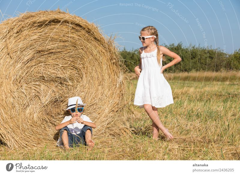 Happy children playing on the field Child Human being Vacation & Travel Summer Beautiful Joy Face Lifestyle Family & Relations Laughter Boy (child) Small