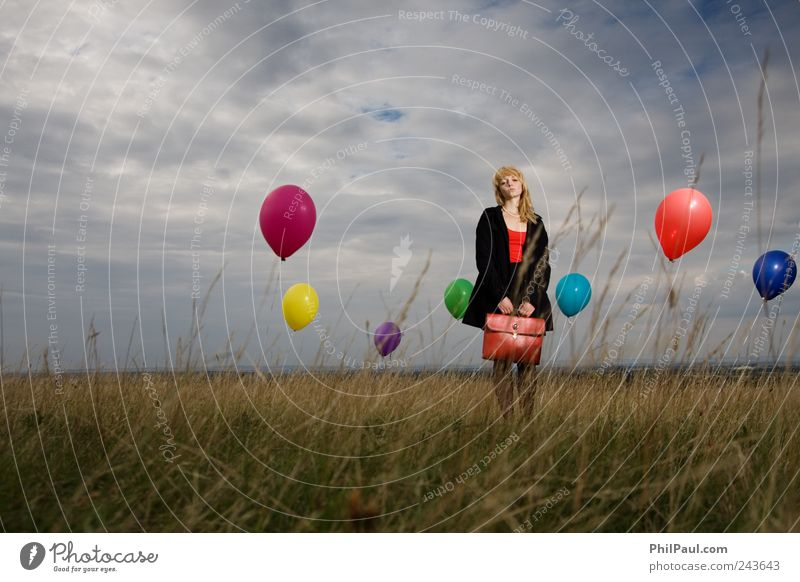 Human being Sky Youth (Young adults) Red Girl Beach Clouds Sadness Dream Wind Blonde Stand Retro Balloon Young woman Storm