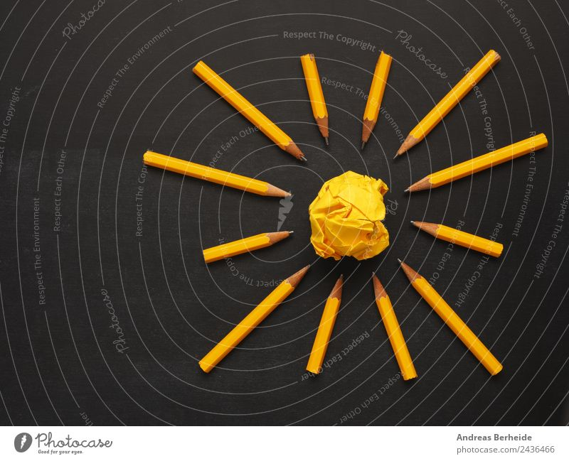 Teamwork pens paper ball Blackboard Office work Workplace Business Stationery Paper Piece of paper Pen Yellow Energy Success Idea Innovative Inspiration