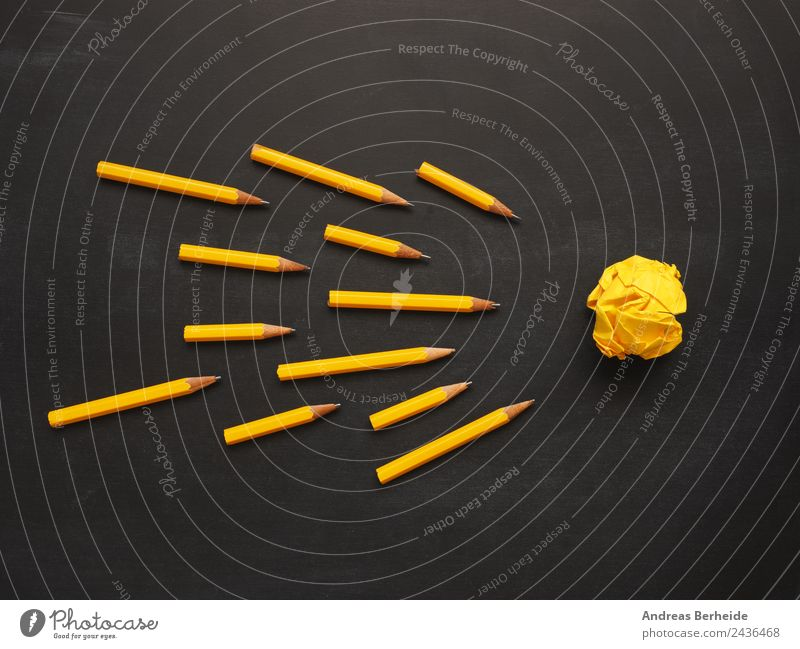 Teamwork pens paper ball Blackboard Office work Workplace Business Musical notes Stationery Paper Piece of paper Pen Yellow Success Idea Innovative Inspiration