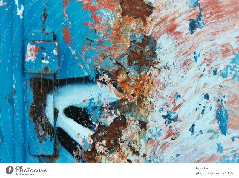 Blue Graffiti Metal Door Industry Castle Rust