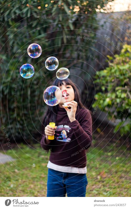 Little helper Child Girl Infancy Youth (Young adults) 1 Human being 3 - 8 years Garden Flying drarock Air bubble Blow Colour photo Exterior shot Twilight
