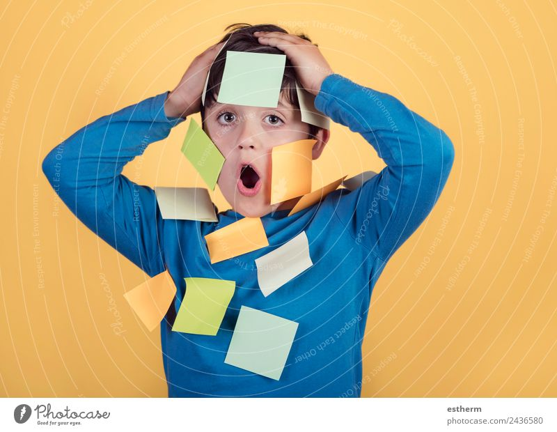 Portrait of kid with note papers stuck on body Child Human being Lifestyle Funny Emotions Boy (child) Masculine Infancy Success Study Paper Curiosity Education