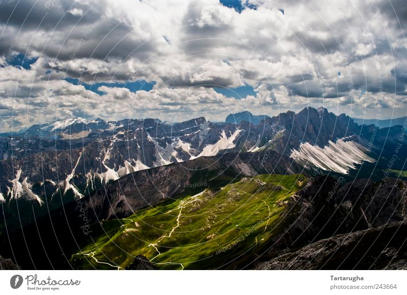 Bright Side - Dolomites Vacation & Travel Tourism Far-off places Mountain Climbing Mountaineering Nature Landscape Sky Clouds Horizon Sunlight Summer