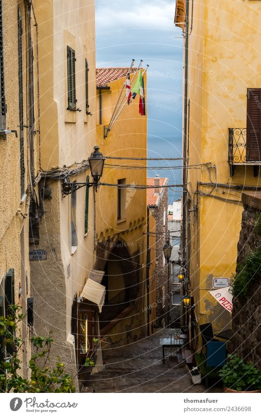 Sardinia, city by the sea, alley Vacation & Travel Far-off places Sightseeing Summer Gastronomy Castelsardo Italy Small Town Port City Downtown Old town