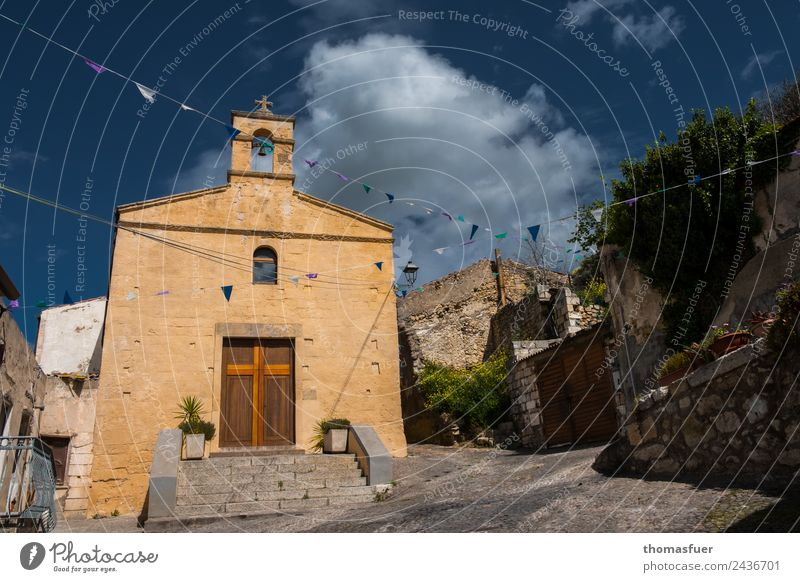 church, sky, picturesque village, flags Vacation & Travel Tourism Trip Feasts & Celebrations Sky Summer Beautiful weather Tree sedini Sardinia Italy Small Town