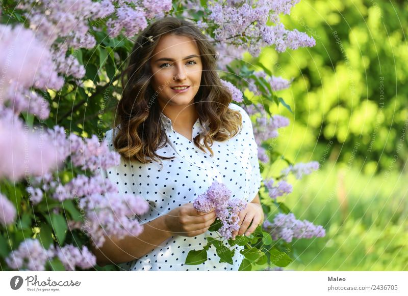 Under the flowering limbs Blossoming Lilac Portrait photograph Youth (Young adults) Young woman Girl Attractive Flower Lady Woman Garden Face Green