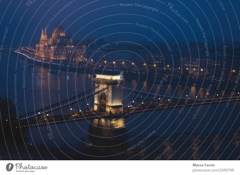 night scenary of Danube river flowing through Budapest Joy Leisure and hobbies Vacation & Travel Tourism River Town Skyline Bridge Building Architecture