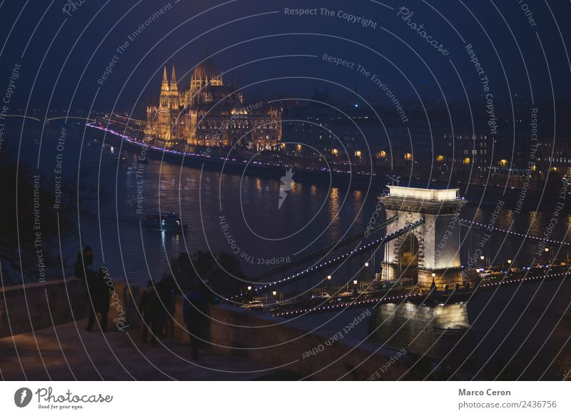 Tourist at night in Danube river in Budapest Vacation & Travel Tourism Architecture Landscape River Town Capital city Skyline Bridge Building Tourist Attraction