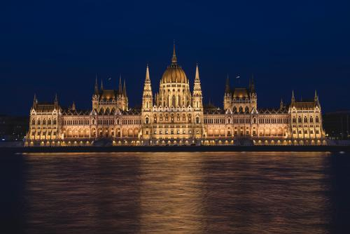 Night scene of Hungarian Parliament Building Vacation & Travel Town Architecture Tourism Europe Fantastic River Tourist Attraction Landmark Capital city