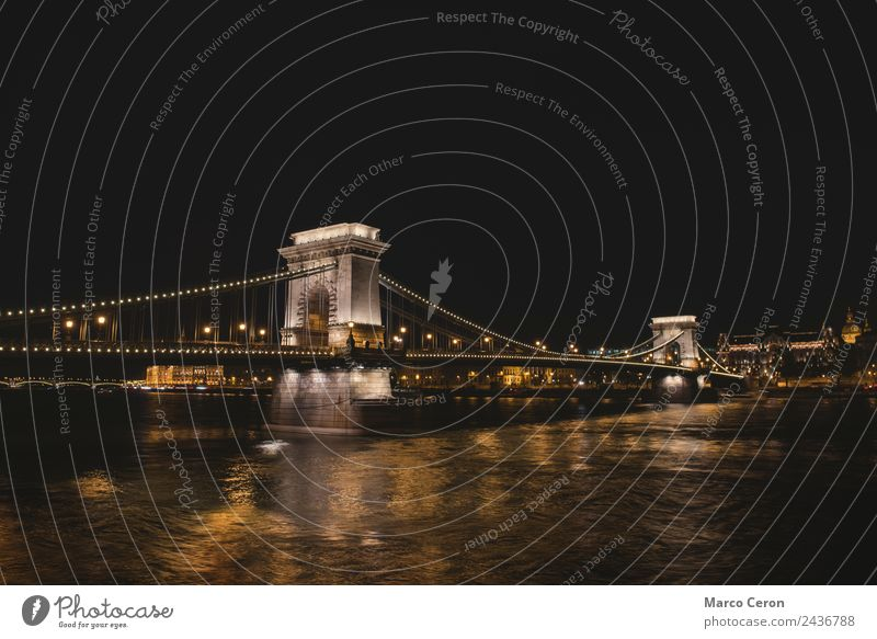 Night scene of The Chain Bridge in Budapest Vacation & Travel Town Landscape Architecture Art Vantage point Historic Tower River Tourist Attraction Skyline