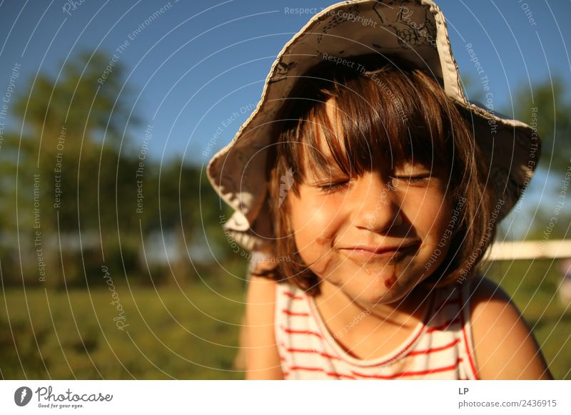 Little girl with closed eyes Leisure and hobbies Playing Children's game Parenting Education Human being Parents Adults Brothers and sisters Family & Relations