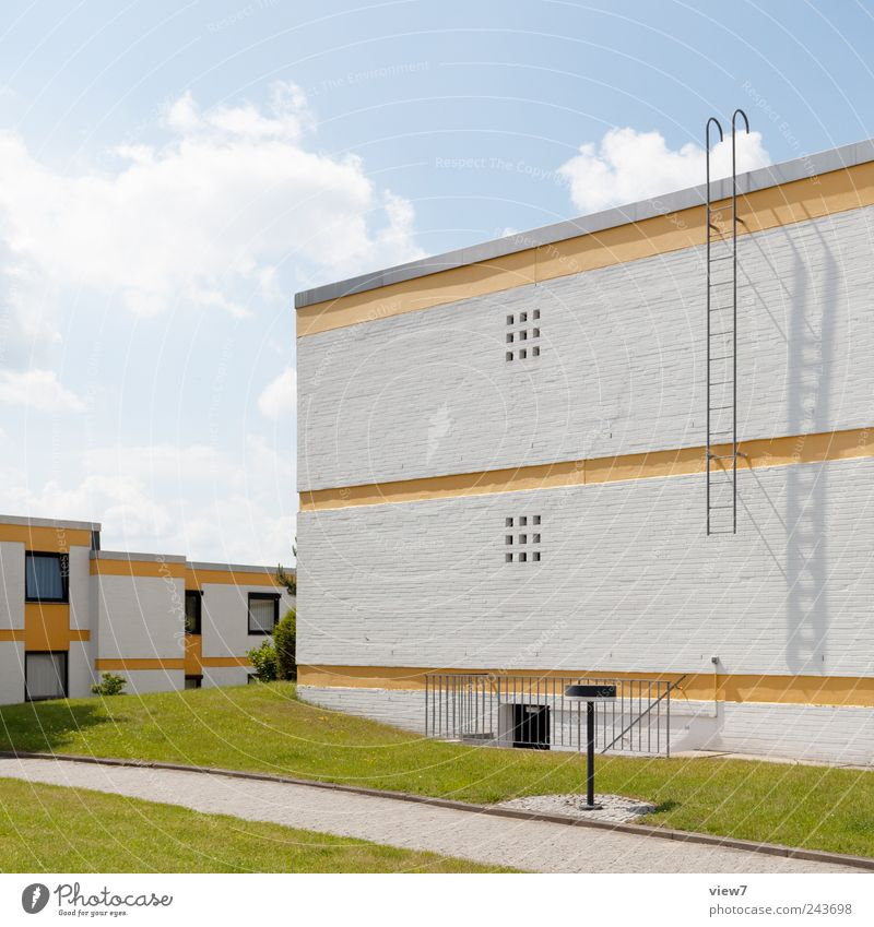 Sky Summer House (Residential Structure) Clouds Yellow Meadow Wall (building) Above Stone Wall (barrier) Building Line Architecture Concrete Facade