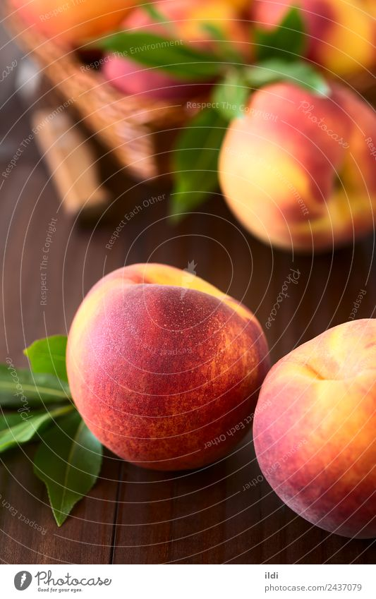 Fresh Ripe Peaches Red Yellow Natural Fruit Nutrition Sweet Refreshment Vertical Juicy Raw Snack Fuzz