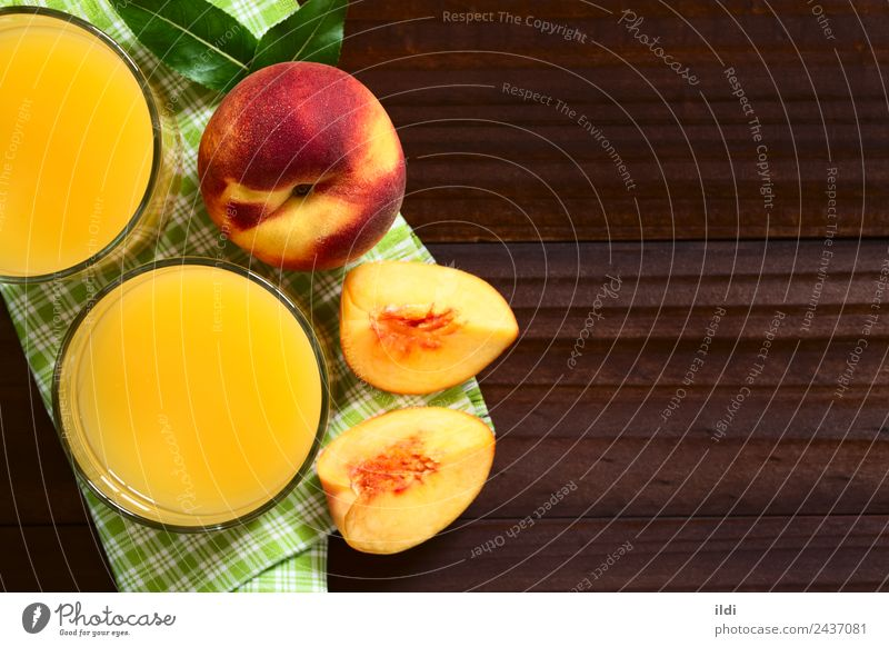 Peach Juice or Nectar Fruit Beverage Fresh food drink drupe Refreshment sweet glass healthy overhead Top copy space Horizontal ripe refreshing top view