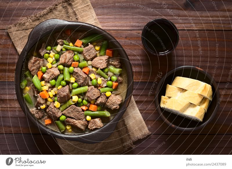 Beef Stew or Soup with Vegetables Meat Lunch Dinner Fresh food Peas Carrot corn Beans piece Home-made lean Dish Meal legume Pulse ragout Goulash Rustic overhead