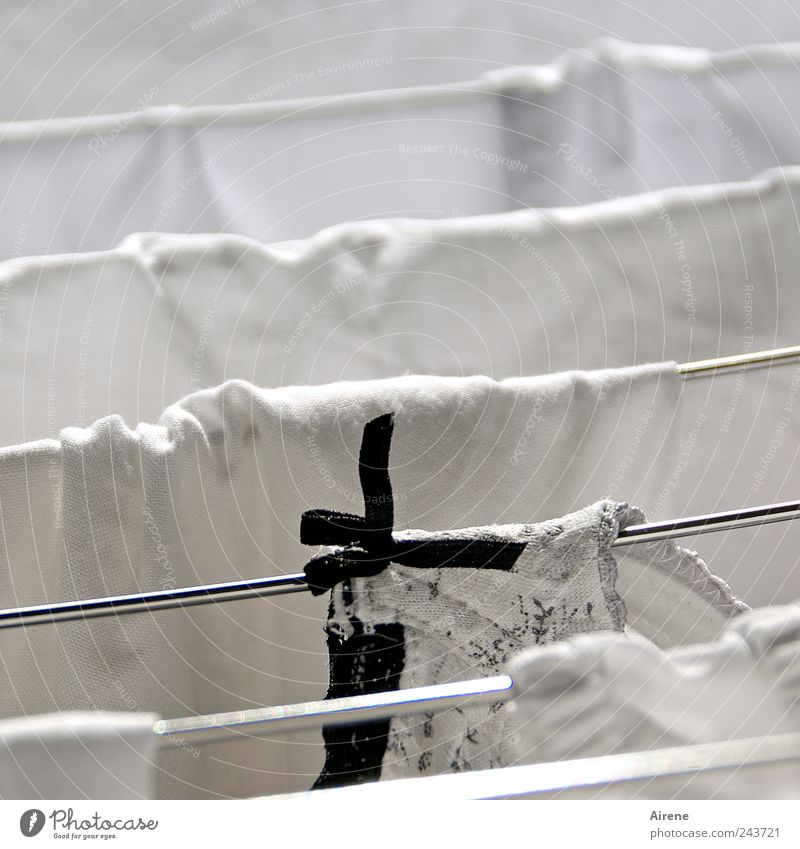 White Black Line Metal Wet Clothing Fresh Clean Pure Living or residing Stripe Dry Hang Underwear Washing