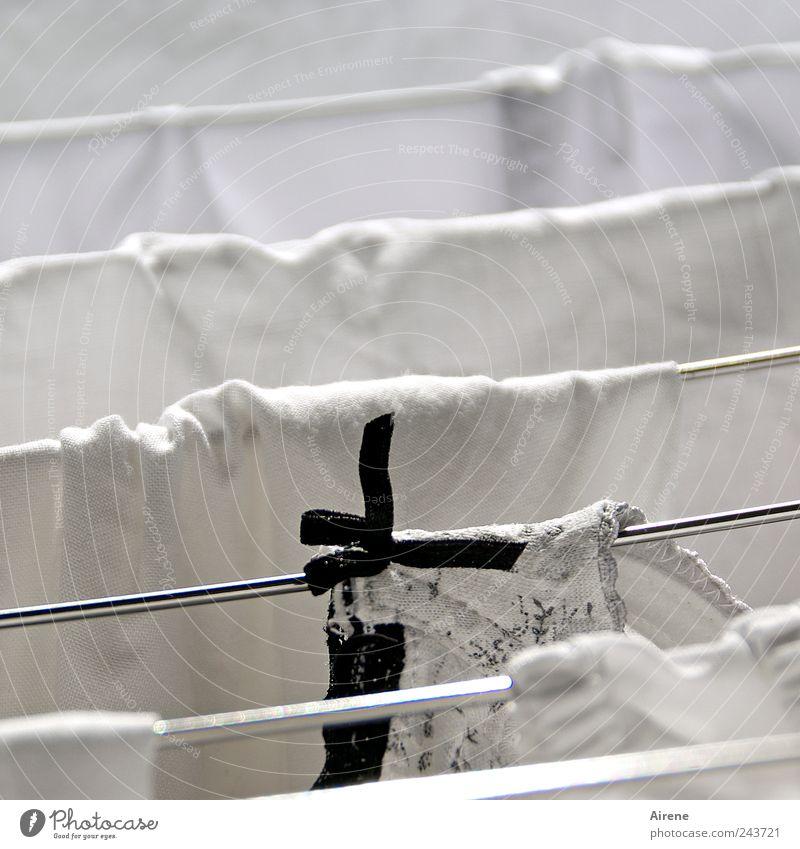 White Black Line Metal Wet Clothing Fresh Clean Pure Living or residing Stripe Cloth Dry Hang Underwear Washing