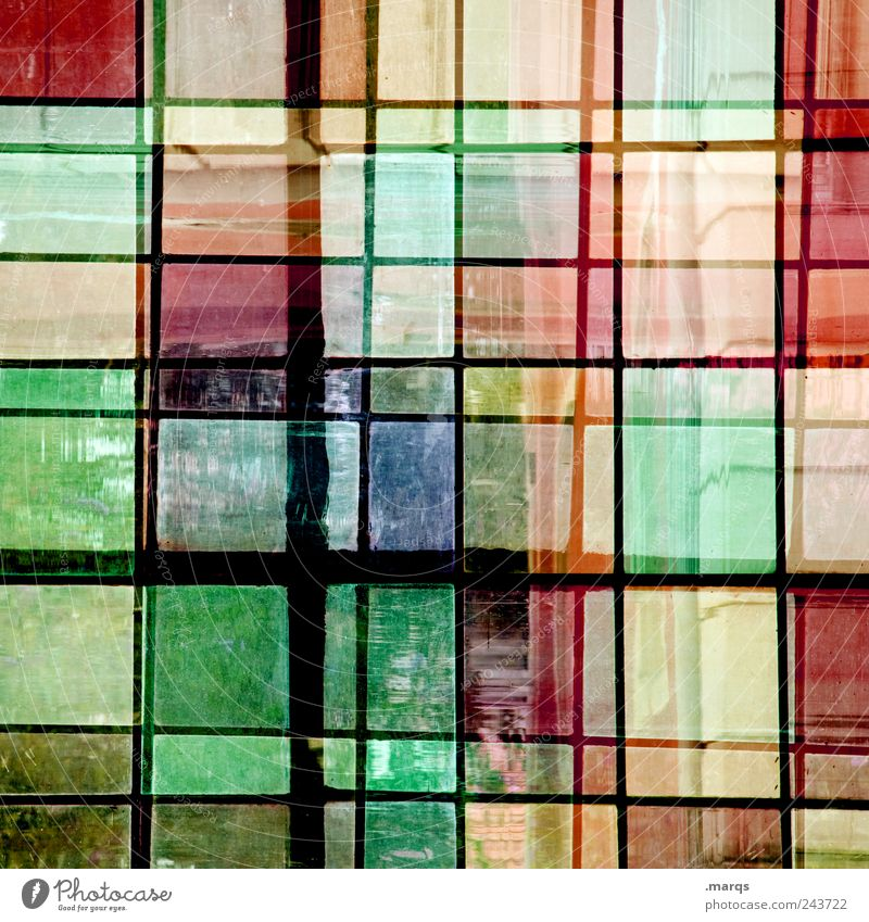 glass Style Design Window Glass Line Uniqueness Crazy Multicoloured Chaos Colour Mosaic Double exposure Colour photo Interior shot Close-up Experimental
