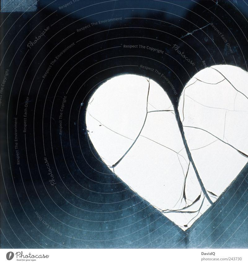 love is gone Sign Heart Old Broken Black White Emotions Love Lovesickness Pain Sadness Divide Exterior shot Close-up Detail Deserted Copy Space left