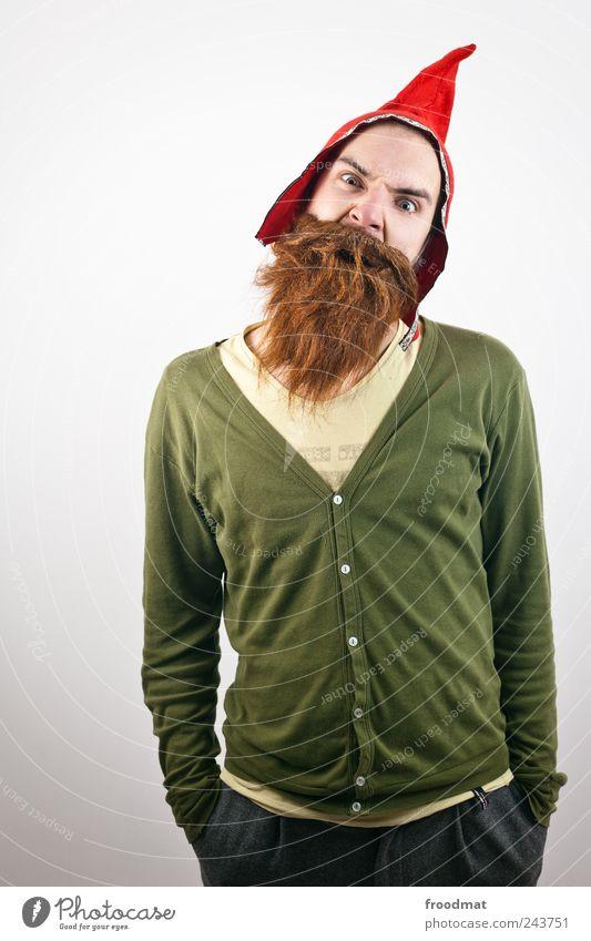 room dwarf Carnival Human being Masculine Man Adults Cap Brunette Red-haired Beard Hair Threat Brash Trashy Crazy Wild Bizarre Identity Dwarf Disguised
