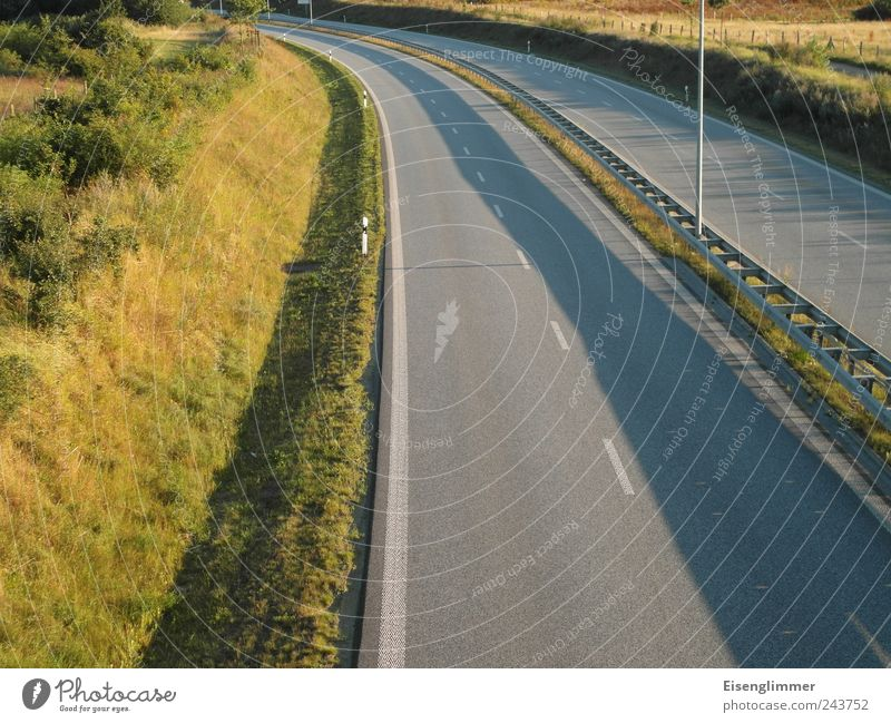 Calm Street Freedom Planning Road traffic Safety Driving Logistics Highway Traffic infrastructure Curve Pavement Motionless Symmetry Stagnating