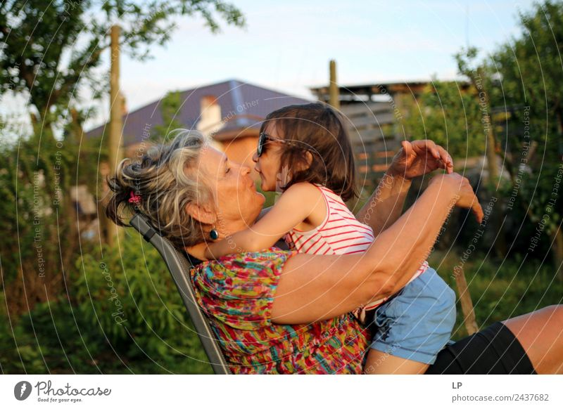 kiss Woman Child Human being Joy Adults Lifestyle Love Senior citizen Emotions Feminine Family & Relations Happy Couple Moody Infancy