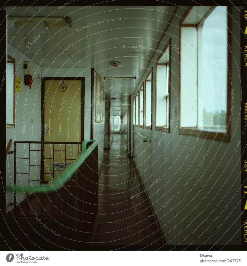 hallway Hallway Corridor Exploit Door Handrail Banister Window Room Linoleum PVC Central perspective Ferry Watercraft