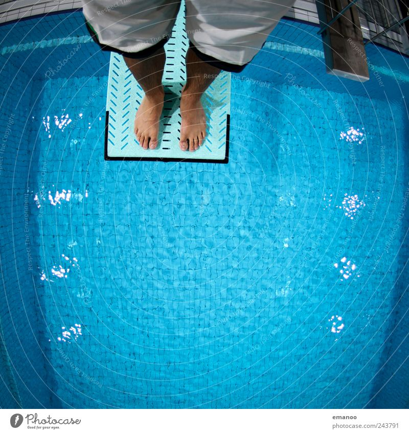 Human being Man Blue Water Joy Adults Life Sports Jump Style Legs Feet Fear Flying Tall Swimming & Bathing