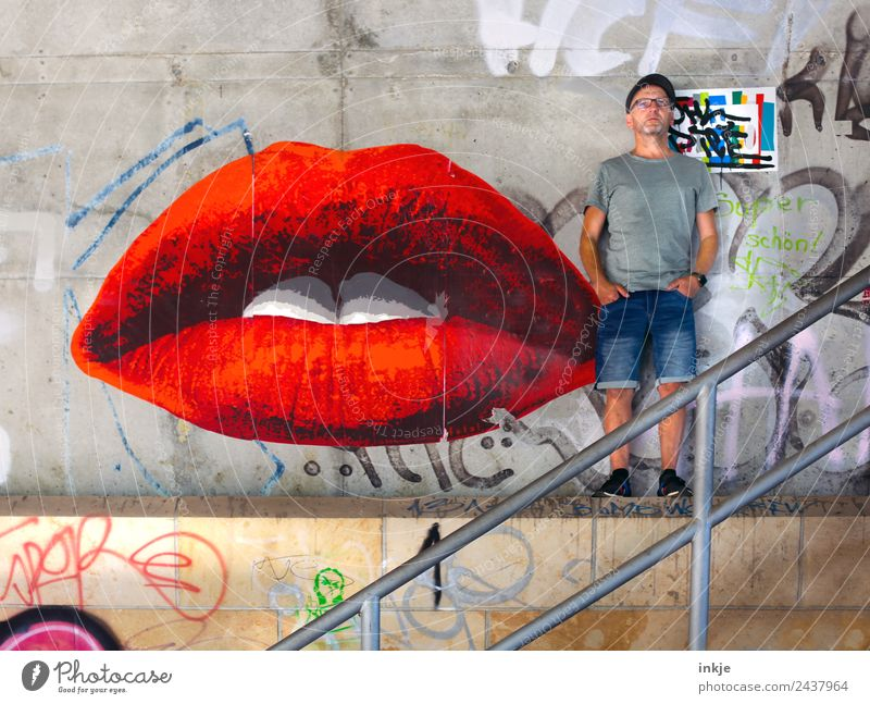 Human being Man Beautiful Red Adults Lifestyle Graffiti Wall (building) Feminine Style Wall (barrier) Facade Leisure and hobbies Masculine Stairs