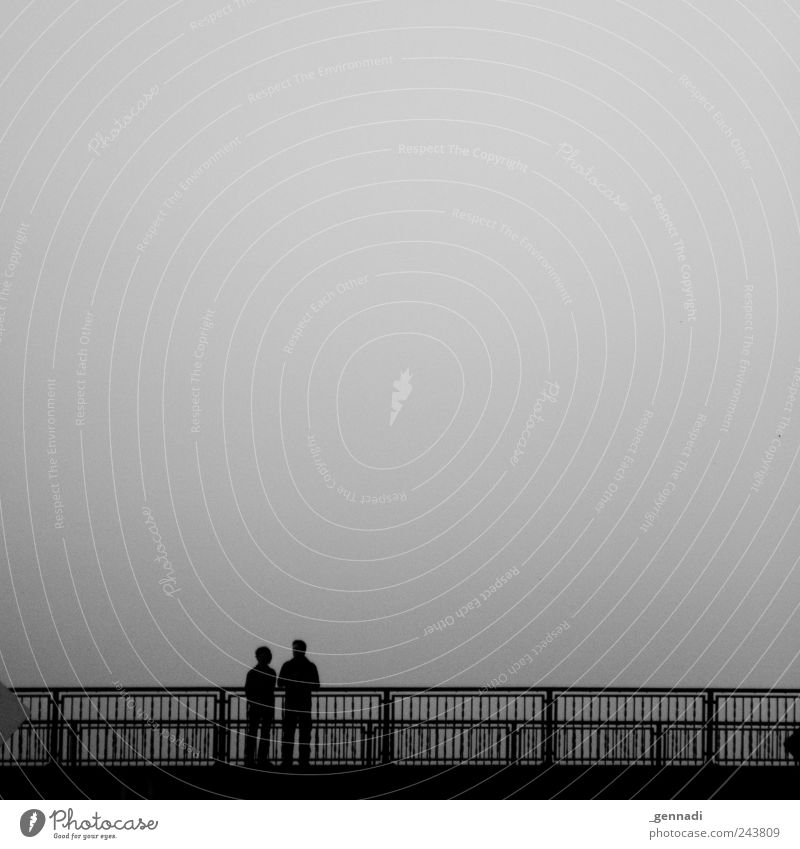 Calm before the storm Human being Couple 2 Sky Bad weather Sadness Bridge Together Relationship Black & white photo Exterior shot Copy Space top Isolated Image