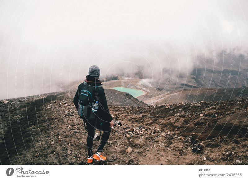 young male adult hiking with misty weather in the mountains Beautiful Vacation & Travel Trip Adventure Mountain Hiking Human being Nature Landscape Weather Fog