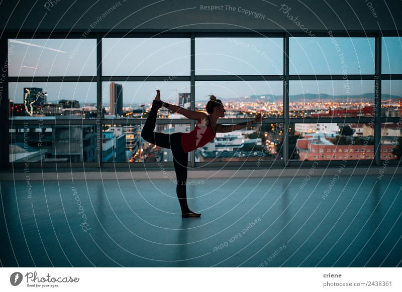 caucasian woman practicing on yoga exercise Lifestyle Joy Beautiful Body Wellness Relaxation Sports Yoga Human being Woman Adults Skyline Fitness people young