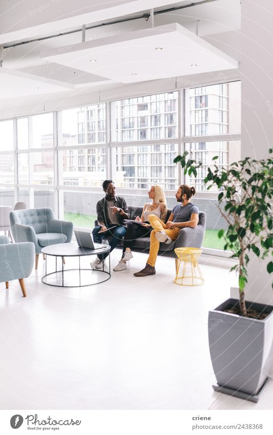 Group of young adults having business meeting in start up office Woman Human being Man Calm Adults To talk Business Work and employment Office Bright Modern