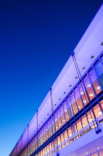 Sky Blue Architecture Building Facade Modern Violet Dresden Diagonal Night sky Office building Glas facade Night mood