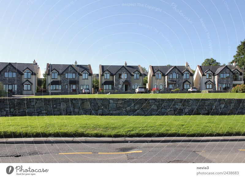 Series of identical houses near Dublin Environment Cloudless sky Horizon Summer Grass Garden Village House (Residential Structure) Detached house