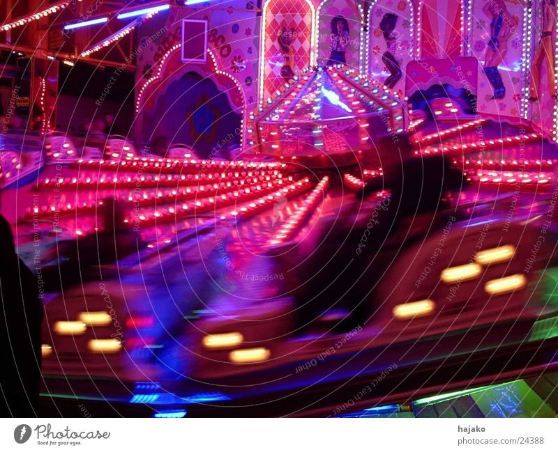 all-round Carousel Blur Fairs & Carnivals Leisure and hobbies fast ride Movement Light Evening