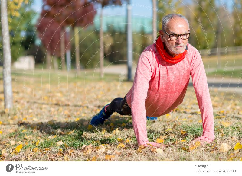 Senior Man Exercising In Park Diet Lifestyle Body Leisure and hobbies Summer Sports Jogging Human being Masculine Adults Male senior Feet 1 60 years and older