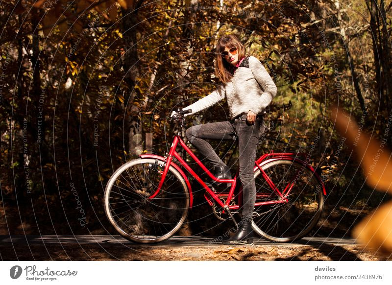 Girl with a classic bike in the middle of the forest. Lifestyle Vacation & Travel Trip Freedom Human being Young woman Youth (Young adults) Adults 1