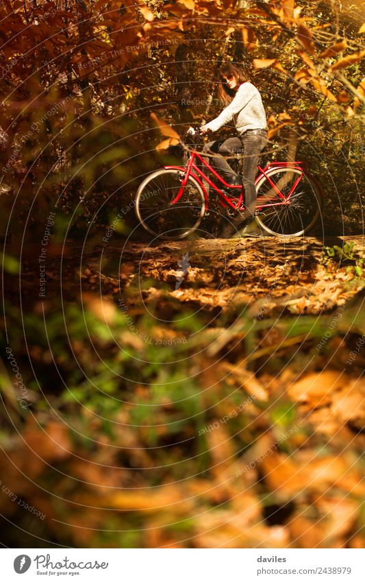 Woman riding a bicycle in the forest Lifestyle Happy Vacation & Travel Trip Garden Sports Human being Young man Youth (Young adults) Adults 1 18 - 30 years