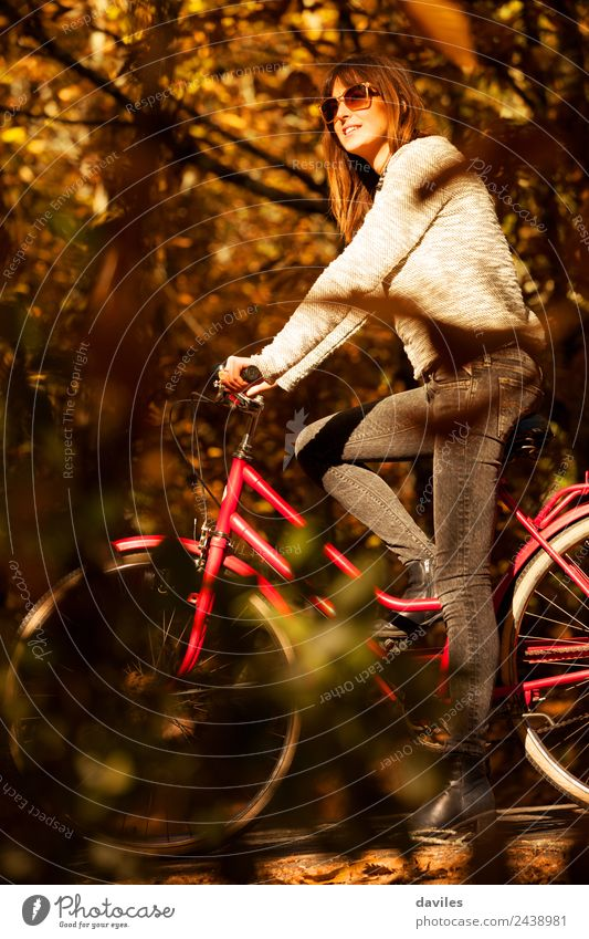 Woman with a bike in the middle of the forest. Human being Nature Vacation & Travel Youth (Young adults) Young woman Tree 18 - 30 years Adults Lifestyle Autumn