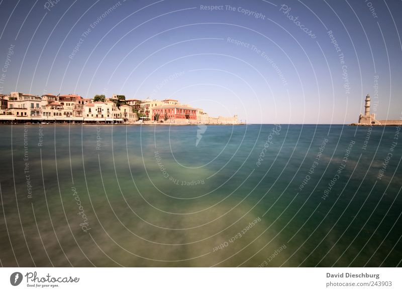 Chania Vacation & Travel City trip Summer vacation Ocean Small Town Port City Harbour Lighthouse Blue White Cloudless sky Turquoise Bottom of the sea