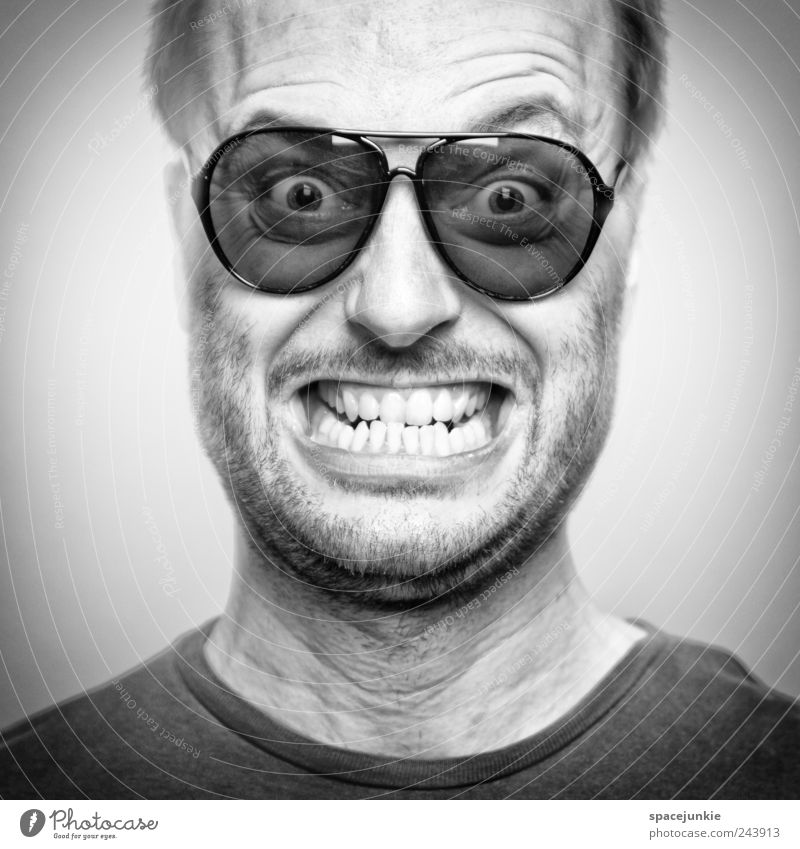 Human being Man Adults Face Funny Masculine Crazy Threat Eyeglasses Teeth Creepy Anger Force Facial hair Whimsical Sunglasses