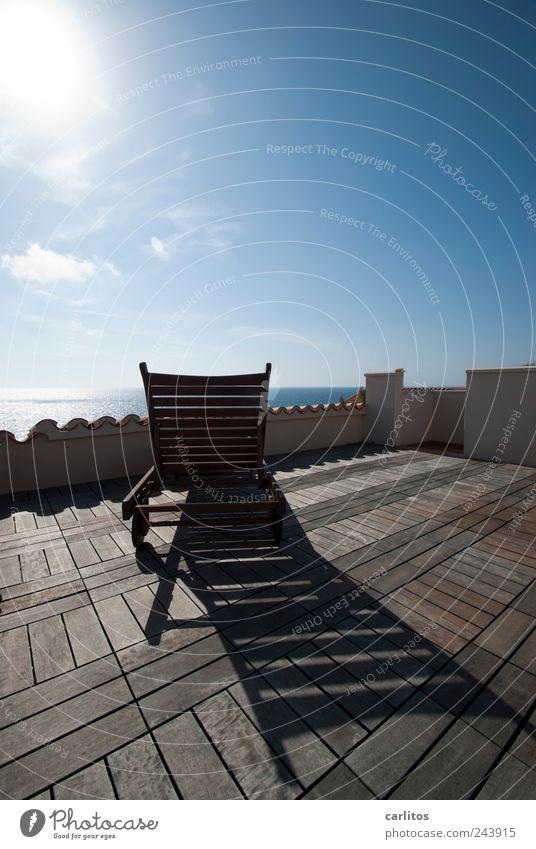 Take a break. Summer Lie Roof terrace Deckchair Roofing tile Wood Horizon Far-off places Ocean Vantage point Vacation & Travel Mediterranean Majorca Relaxation