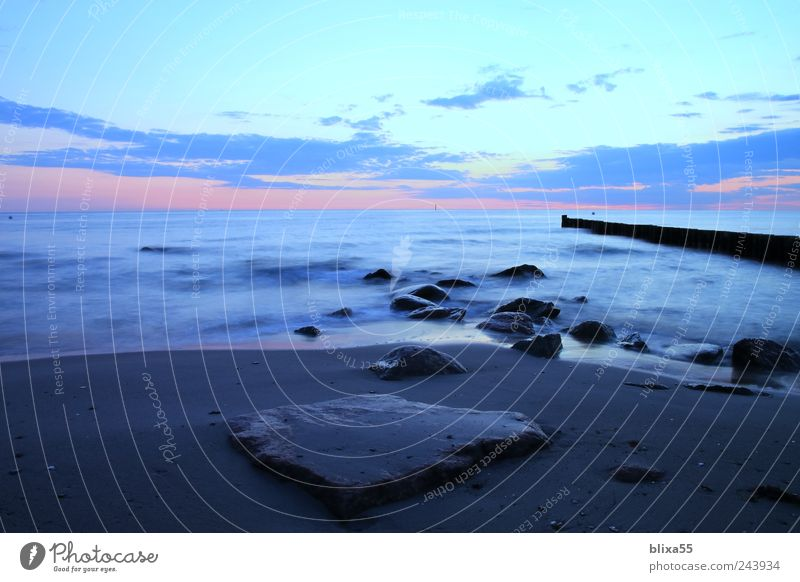 A morning at the sea Sand Water Sunrise Sunset Summer Baltic Sea Kühlungsborn Germany Europe Deserted Longing Wanderlust Freedom Colour photo Copy Space left