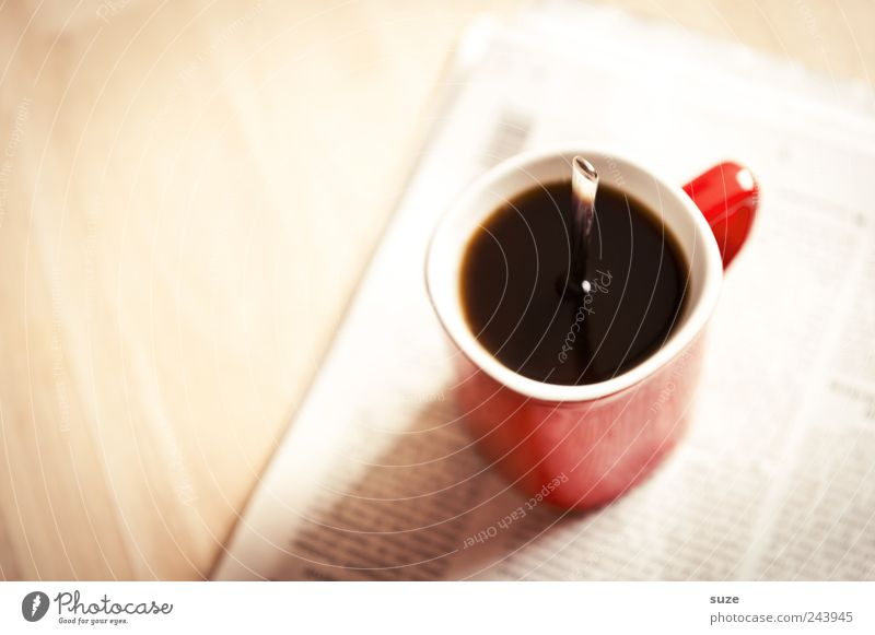 Strong taste Coffee Cup Spoon Table Work and employment Workplace Economy Print media Newspaper Magazine To enjoy Stand Funny Red Black Debauchery Idea