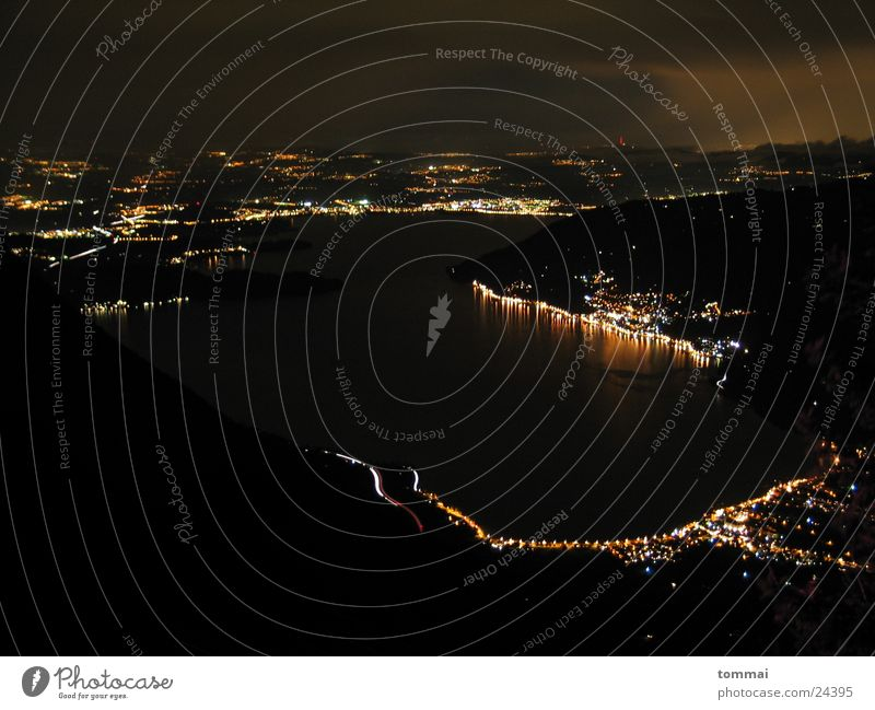 Mountain Lake Lighting Night shot Rigi Bird's eye view