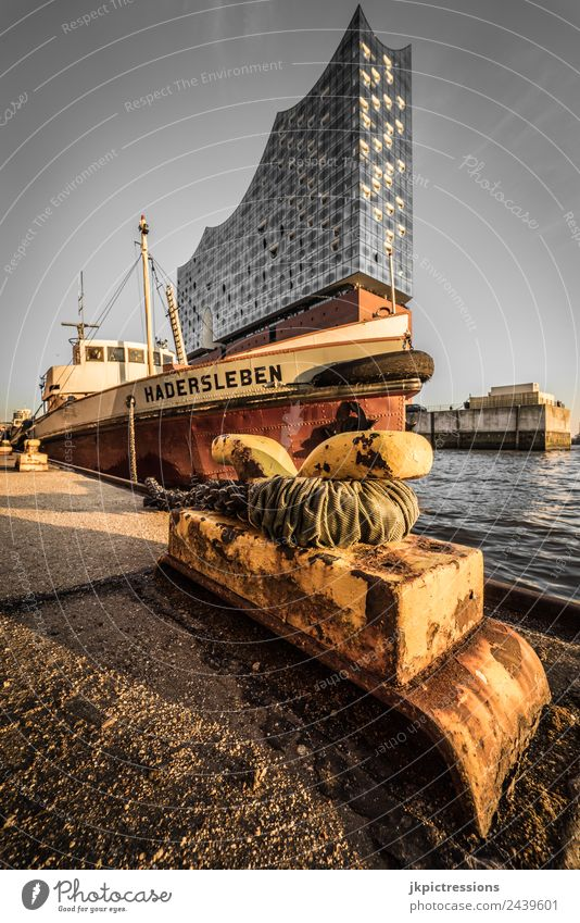 Pier in Hamburg with Elbphilharmonie in the background Europe Germany Northern Germany Evening Romance Idyll Calm Brown Sky Cloudless sky Watercraft Rope Shadow