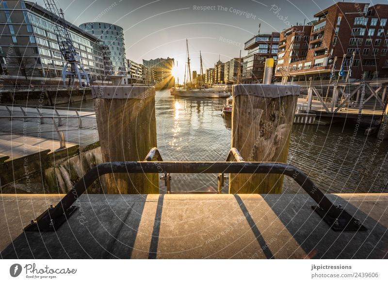 Hamburg Hafencity Sunset Twilight Evening Light Romance Germany Water Blue sky House (Residential Structure) Harbour Channel Beautiful Calm Pensive