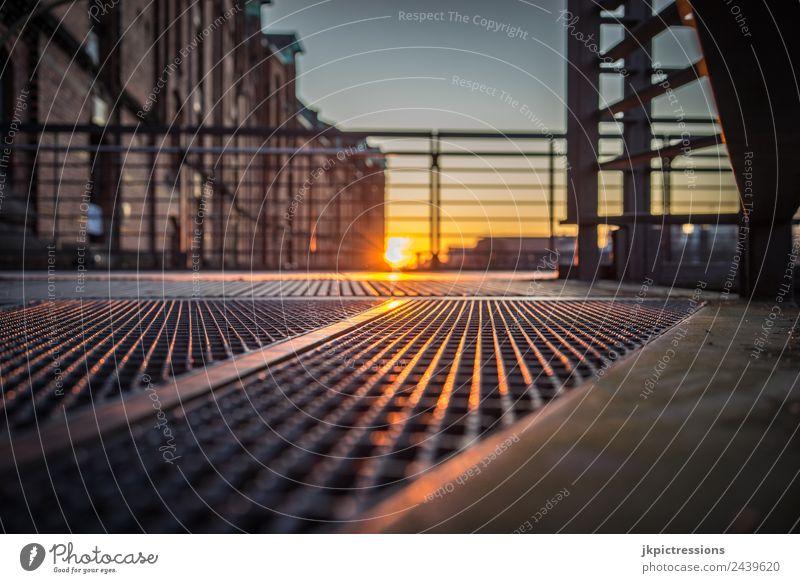 Sunset, reflections on steel Twilight Evening Light Romance Brick Old warehouse district Hamburg Germany World heritage Water Blue sky Cloudless sky Night shot